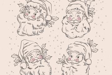 4款手绘圣诞老人头像矢量素材