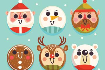 6款可爱圣诞角色吊球矢量素材