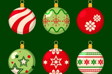 6款彩色复古花纹圣诞吊球矢量图