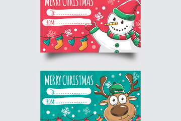 2款彩绘圣诞节留言卡片矢量素材