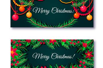 2款创意圣诞松枝banner矢量素材