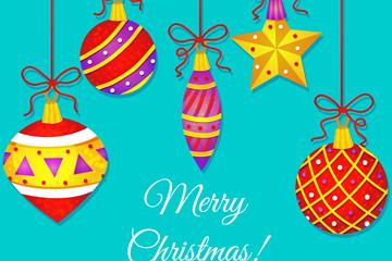 彩色质感圣诞吊球贺卡矢量素材