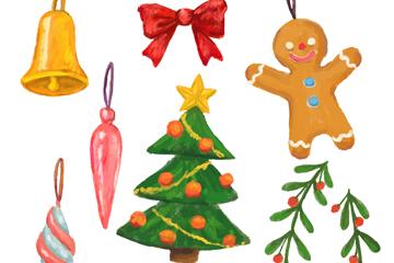 8款彩绘圣诞装饰物矢量素材