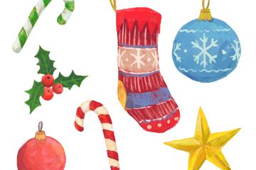 7款彩绘圣诞节挂件矢量素材