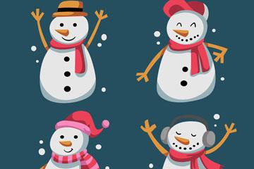 4款卡通快乐圣诞雪人矢量素材