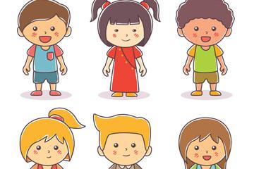 6款可爱笑脸儿童设计矢量素材