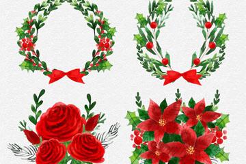 4款水彩绘圣诞节花束和花环矢量图
