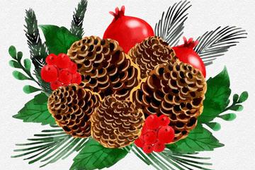 水彩绘圣诞节松果花束矢量素材