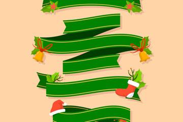 4款扁平化圣诞节条幅矢量素材