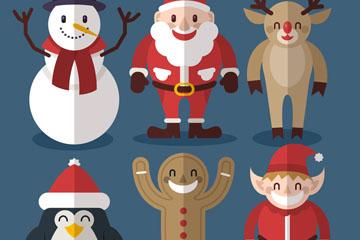 6款扁平化圣诞节角色矢量素材