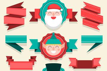 11款扁平化圣诞节条幅矢量图