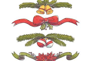 4款彩绘圣诞节装饰物矢量素材