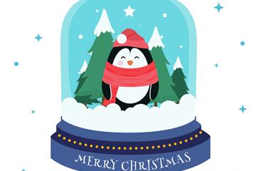 创意企鹅雪花水晶球矢量素材