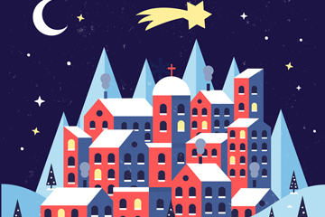 复古圣诞夜小城风景矢量素材