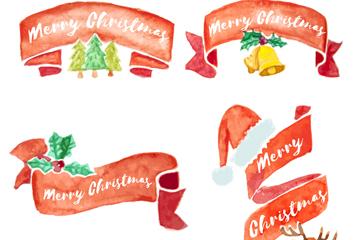 4款水彩绘圣诞节条幅矢量素材