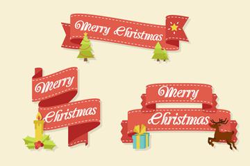4款精致圣诞节祝福条幅矢量素材