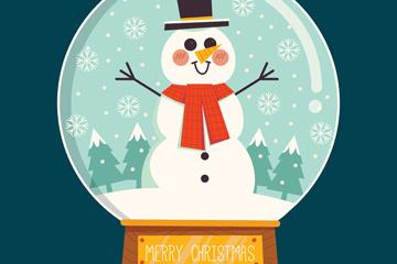 可爱雪人圣诞节雪花水晶球矢量素材