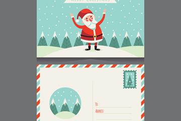 创意圣诞老人明信片正反面矢量图
