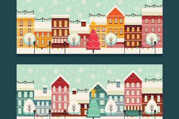 2款创意圣诞小城风景banner矢量