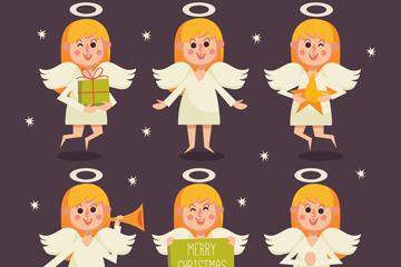 6款创意圣诞金发天使矢量素材