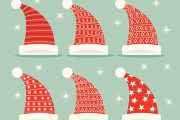 6款红色花纹圣诞帽矢量素材