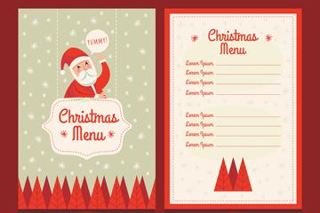 创意圣诞老人装饰餐馆菜单矢量图