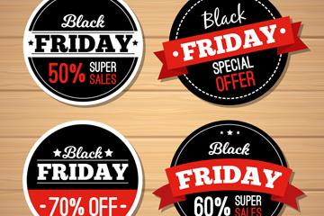 4款圆形黑色星期五促销标签矢量图