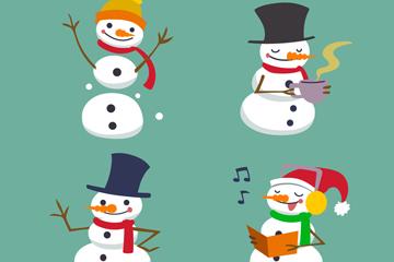 4款快乐圣诞雪人矢量素材