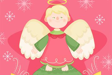 手绘圣诞节天使矢量素材