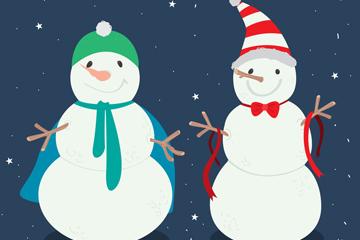 手绘雪中的2个雪人矢量素材