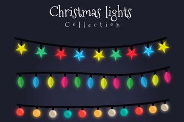 4款精致圣诞节彩灯串矢量素材