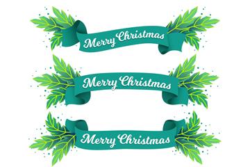 4款手绘绿色圣诞节条幅矢量素材