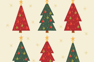 6款手绘圣诞树设计矢量素材