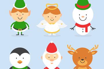 6款创意圣诞角色设计矢量素材