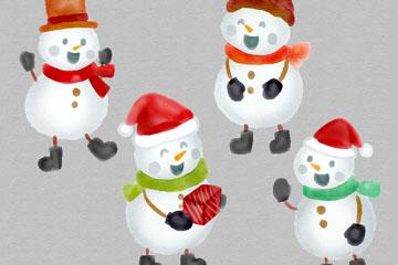 4个水彩绘雪人设计矢量图