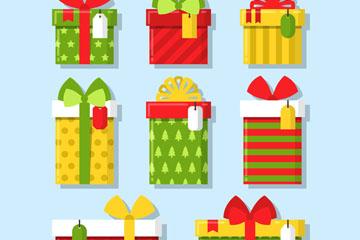 8款彩色带留言牌的礼盒矢量素材