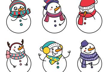 6款可爱雪人球矢量素材