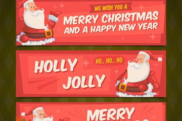 3款创意圣诞老人banner矢量素材