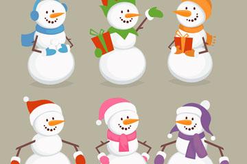 6款彩色服饰雪人设计矢量素材