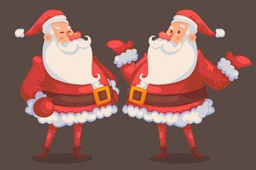 2个时尚圣诞老人设计矢量图