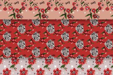 3款手绘圣诞花卉无缝背景矢量图