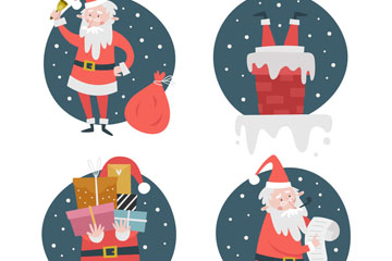 4款创意圣诞老人设计矢量素材