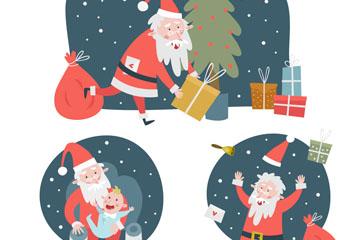 3组创意圣诞老人场景矢量素材