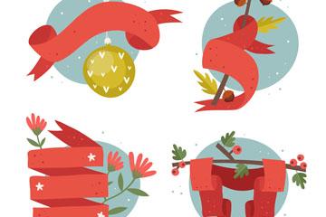 4款手绘圣诞节丝带条幅矢量素材