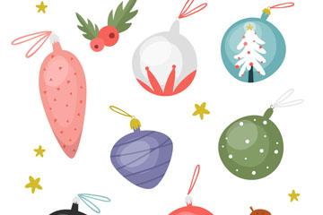 7款彩色圣诞节挂饰矢量素材