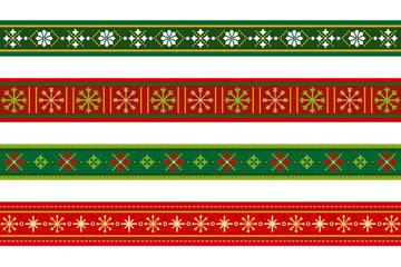 6款创意圣诞节花纹花边矢量素材