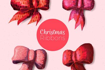 4款圣诞丝带蝴蝶结矢量素材