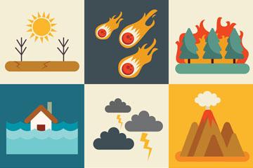 9款创意自然灾害场景矢量素材