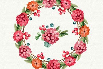 彩绘圣诞节花环和8款花卉矢量图