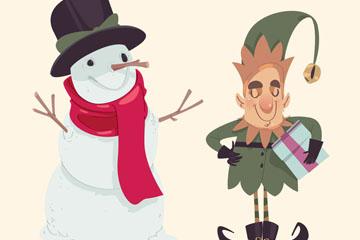 彩绘圣诞节雪人和精灵矢量素材